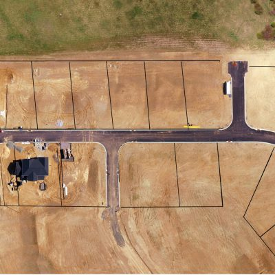 Aerial view with site plan overlayed