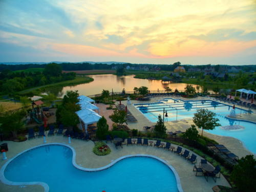 Willowsford pool and lake sunset 19